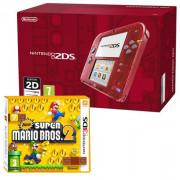 Nintendo 2DS (Transparent, roșu)  + New Super Mario Bros. 2