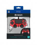 PlayStation 4 (PS4) Nacon Wired Compact Controller (Illuminated) (Roșu)